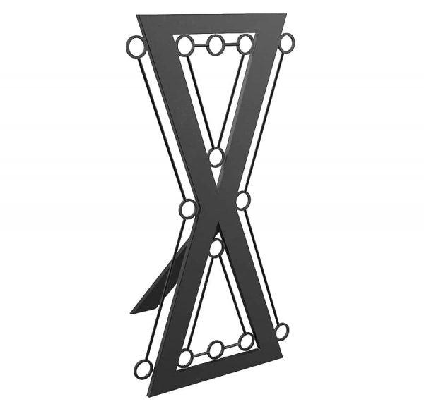 bdsm architecture- fetish furniture-steel Hour glass cross with bondage rings