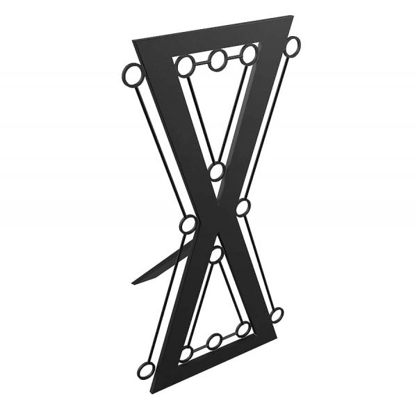 bdsm architecture- fetish furniture-steel Hour glass cross with bondage rings front side