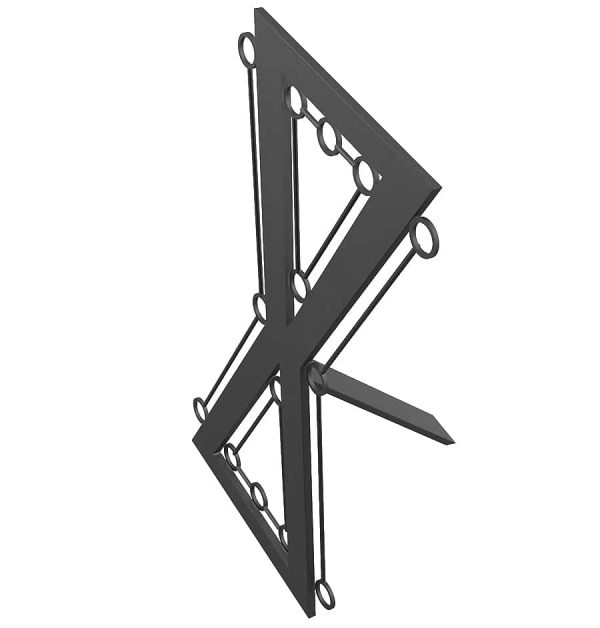 bdsm architecture- fetish furniture-steel Hour glass cross with bondage rings top view