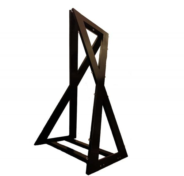 bdsm architecture – fetish furniture- wood double hourglass cross with bondage points